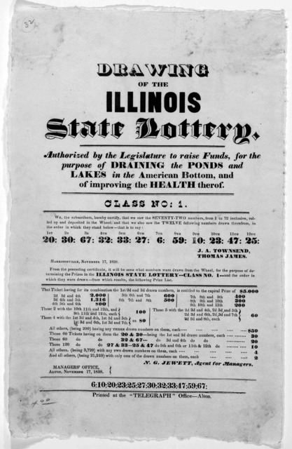 "Drawing of the Illinois State lottery, authorized by the Legislature to raise funds for the purpose of draining the ponds and lakes in the American bottom, and of improving the health thereof. Class No: 1 ... Alton, Printed at the ""Telegraph"" Of"
