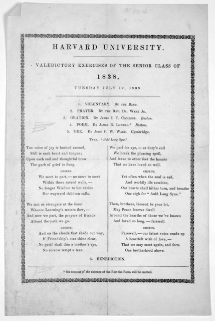 Harvard University. Valedictory exercises of the senior class of 1838, Tuesday July 17, 1838.