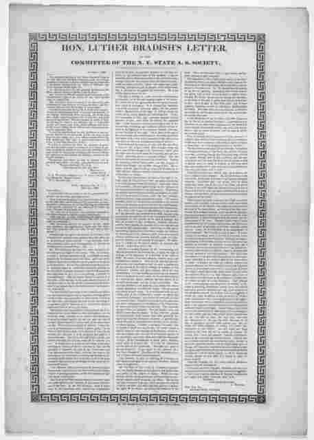 Hon. Luther Bradish's letter, to the committee of the N. Y. State A. S. Society. New York. 1838.