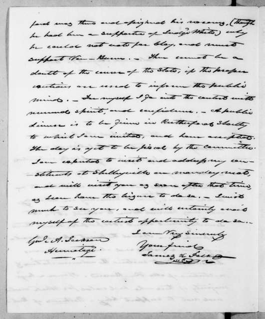 James Knox Polk to Andrew Jackson, August 7, 1838