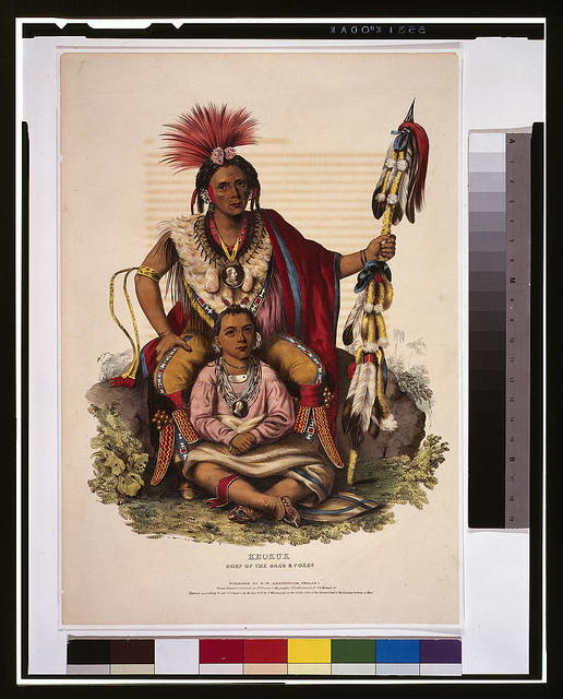 Keokuk, chief of the Sacs & Foxes / drawn, printed & coloured at I.T. Bowen's Lithographic Establishment No. 94 Walnut St.