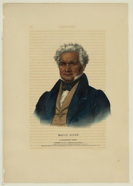 Major Ridge, a Cherokee chief / printed & coloured at I.T. Bowen's Lithographic Establishment No. 94 Walnut St.