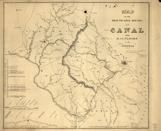Map of the practicable routes of a canal from Baltimore to the Potomak /