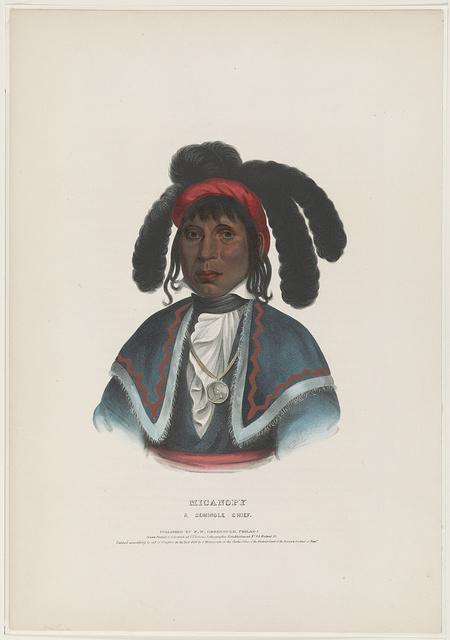 Micanopy. A Seminole chief / R.T. ; drawn printed & coloured at I.T. Bowen's Lithographic Establishment, No. 94 Walnut St.