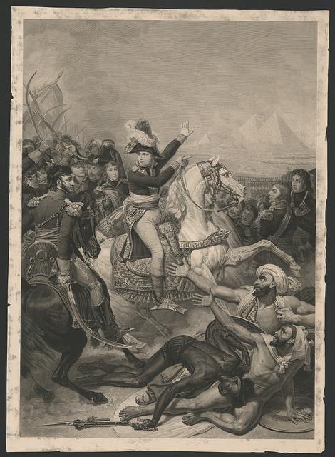 [Napoleon at the battle of the pyramids, July 21, 1798] / peint par Gros ; gravé par Vallot.