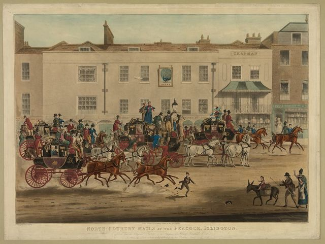 North-country mails at the Peacock, Islington / painted by James Pollard ; engraved by T. Sutherland.