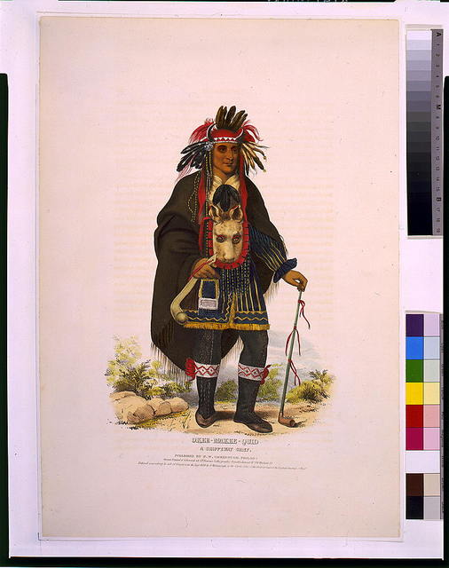 Okee-Makee-Quid a Chippeway chief / drawn, printed, and coloured at I.T. Bowen's Lithographic Establishment No. 94 Walnut St.