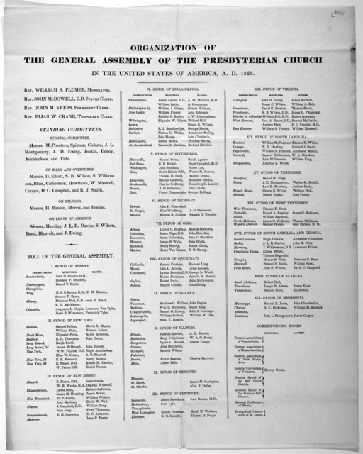 Organization of the General Assembly of the Presbyterian church in the United States of America, A. D. 1838. [Louisville?]