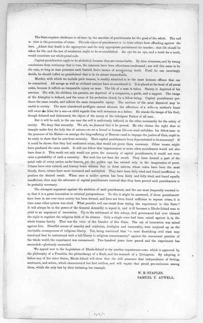 Report of the committee on the abolishment of capital punishments. To the Honorable the General Assembly January session, A. D. 1838. The subscribers, two of the Committee appointed to revise the penal code, respectfully represent.