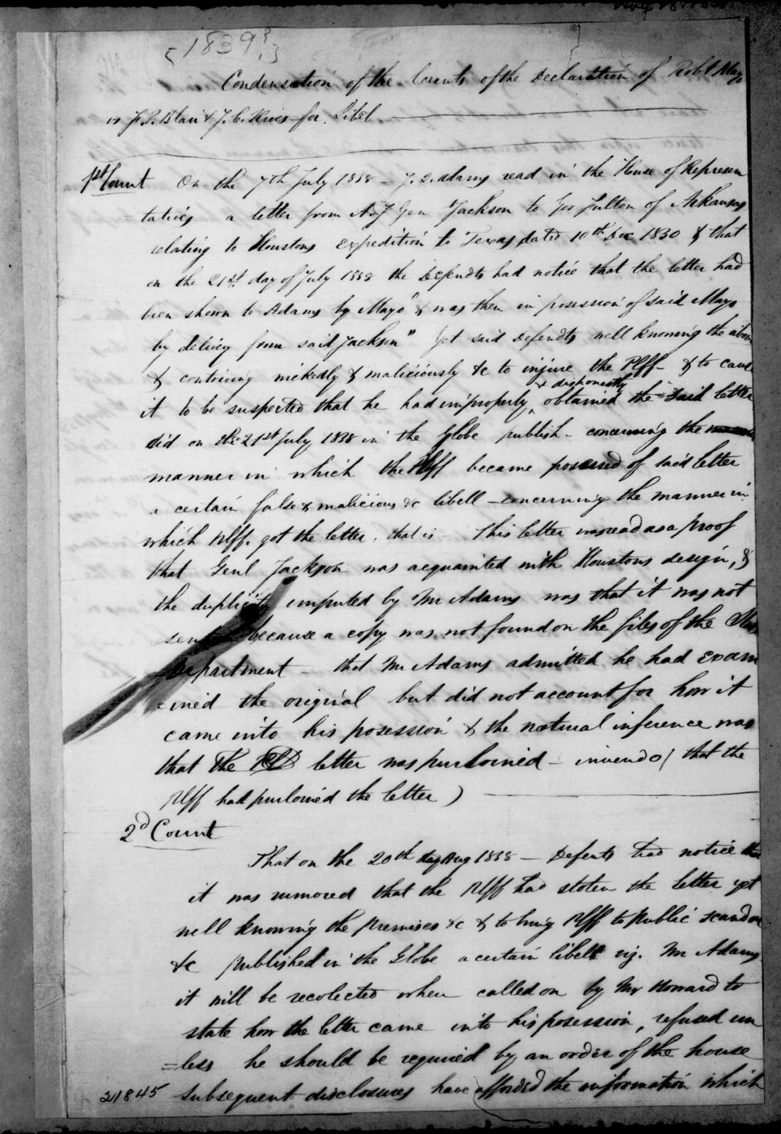 Robert Mayo to Francis Preston Blair, August 28, 1838