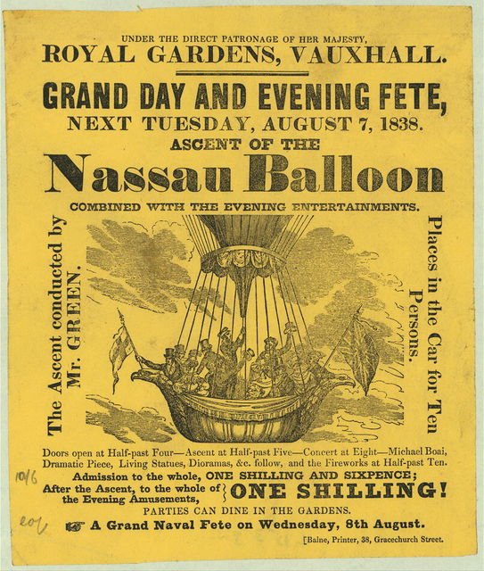 Royal Gardens, Vauxhall. Grand day and evening fete, next Tuesday, August 7, 1838. Ascent of the Nassau Balloon, combined with the evening entertainments