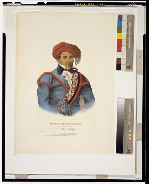 Tustennuggee Emathla or Jim Boy, a Creek chief / drawn, printed and coloured at I. T. Bowen's lithographic establishment, No. 94 Walnut St.