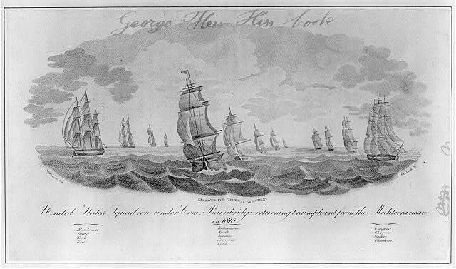 United States squadron under Com. Bainbridge returning triumphant from the Mediterranean in 1815 / J.B. Fanning des. ; G.G. Smith sc.