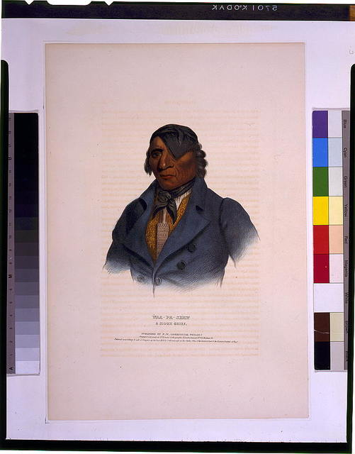 Waa-Pa-Shaw, a Sioux chief / printed & coloured at I.T. Bowen's Lithographic Establishment No. 94 Walnut St.
