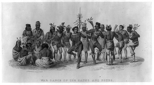 War dance of the Sauks and Foxes / on stone by Corbould from a painting by P. Rindisbacher ; printed by C. Hullmandel.