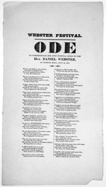 Webster festival. Ode to commemorate the civic festival given to the Hon. Daniel Webster. at Faneuil Hall, July 24, 1838.