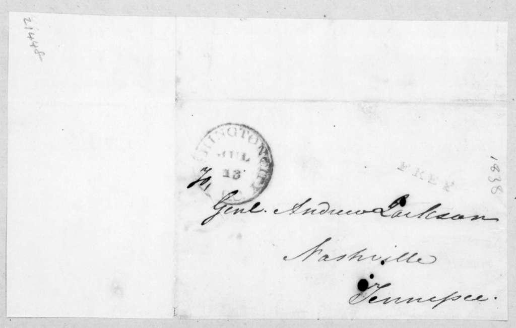 William Berkeley Lewis to Andrew Jackson, July 13, 1838