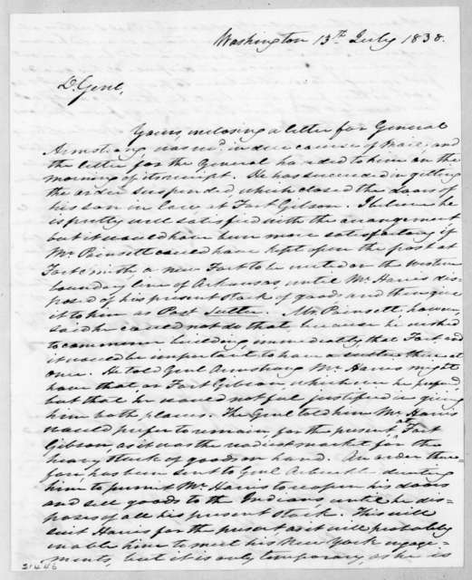 William Berkeley Lewis to Andrew Jackson, July 13, 1838
