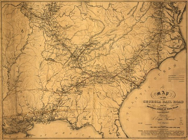 A map of the Georgia Rail Road and the several lines of railroad connecting with it, Febr. 1839.