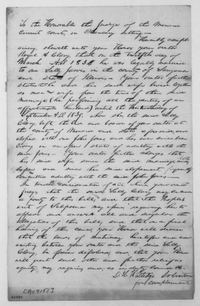 [Abraham Lincoln], Wednesday, November 13, 1839  (Bill for divorce in case of Royal A. Clary vs. Sally J. Clary; signed by Royal A. Clary and D. H. Rutledge)