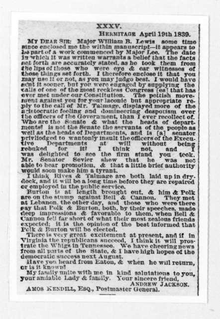Amos Kendall to Andrew Jackson, April 19, 1839