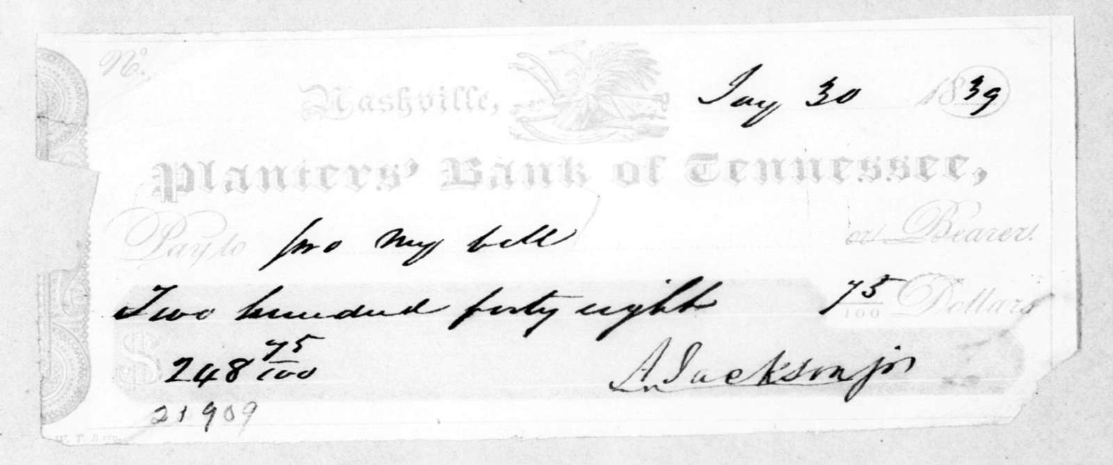 Andrew Jackson, Jr. to Planters Bank of Tennessee, January 30, 1839