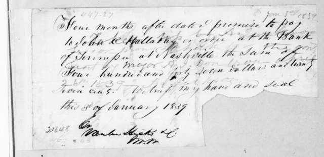 Andrew Jackson to John C. Holladay, January 3, 1839