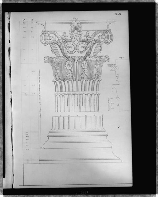 Corinthian column and capital From the monument of Lysicrates : Fig. 1, column, base, and capital.