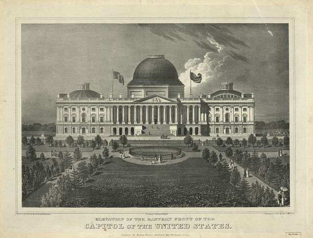 Elevation of the eastern front of the Capitol of the United States / drawn by Wm. A. Pratt, Rural Architt. & Surveyor ; Printed by P.S. Duval, Philada. ; lithographed by Chas. Fenderich, Washn. City.