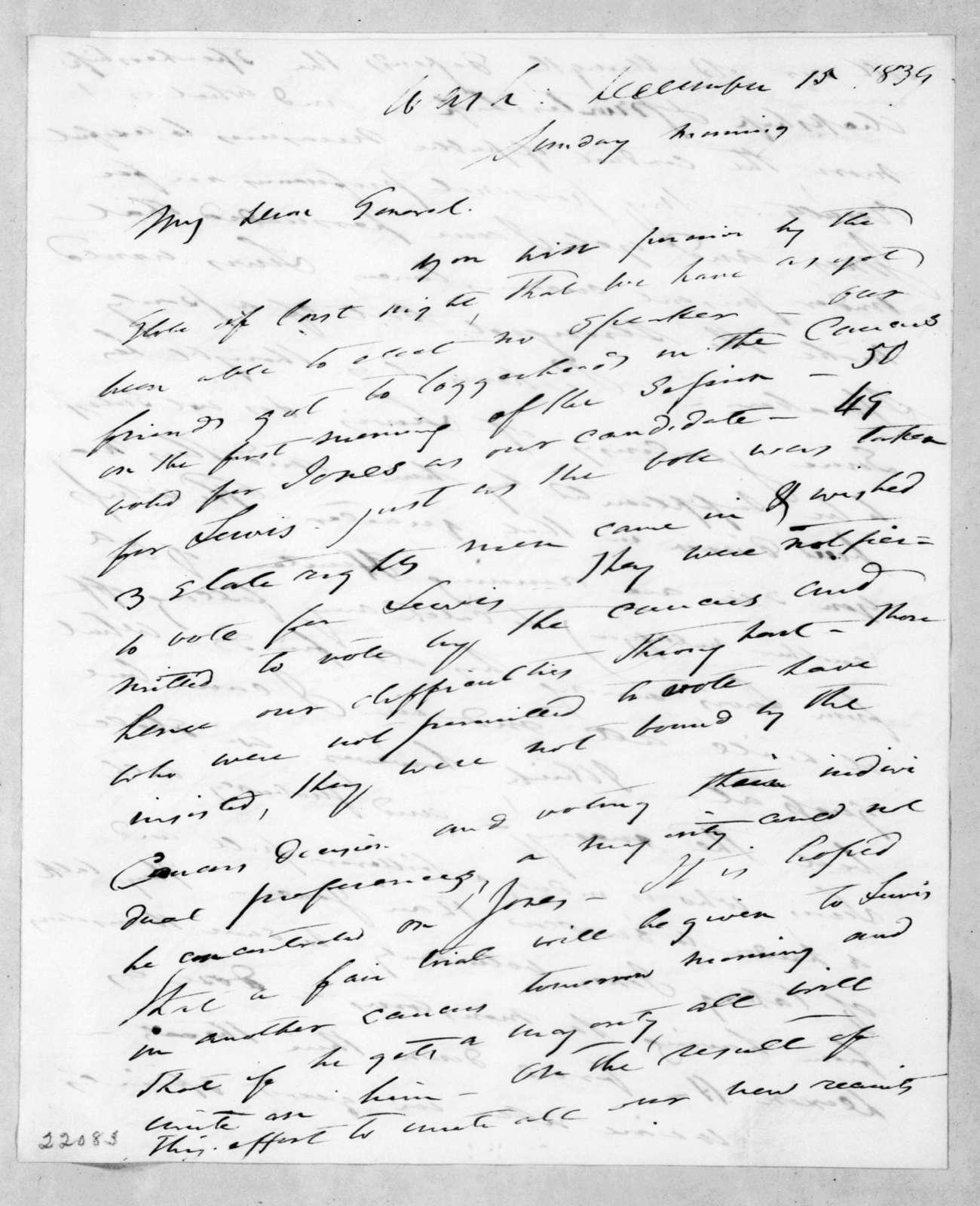 Francis Preston Blair to Andrew Jackson, December 15, 1839