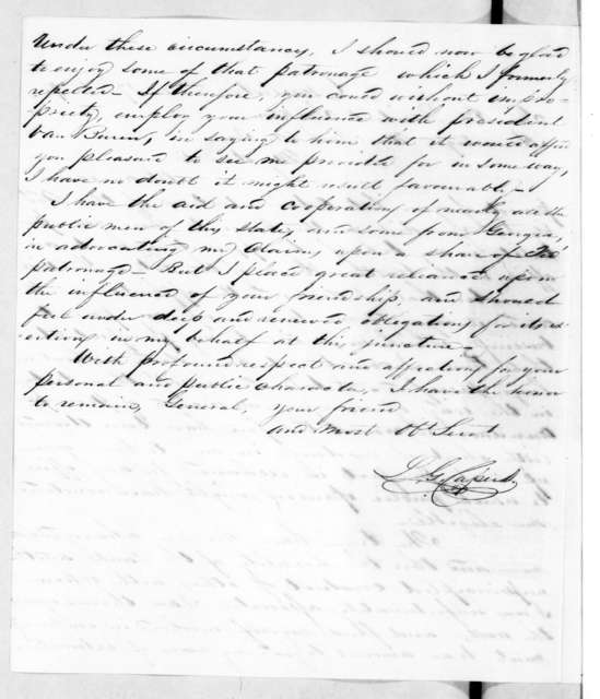 Legrand G. Capers to Andrew Jackson, November 17, 1839