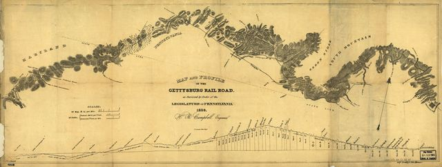 Map and profile of the Gettysburg Rail Road as surveyed by order of the legislature of Pennsylvania, 1839.