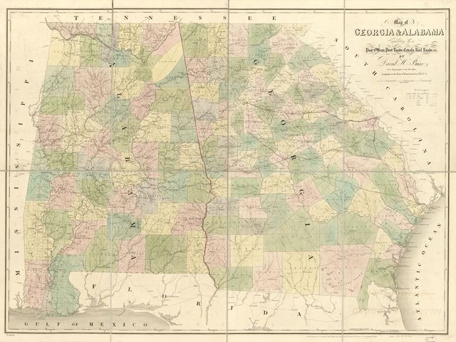 Map of Georgia & Alabama exhibiting the post offices, post roads, canals, rail roads & c.; by David H. Burr (Late topographer to the Post Office), Geographer to the House of Representatives of the U.S.