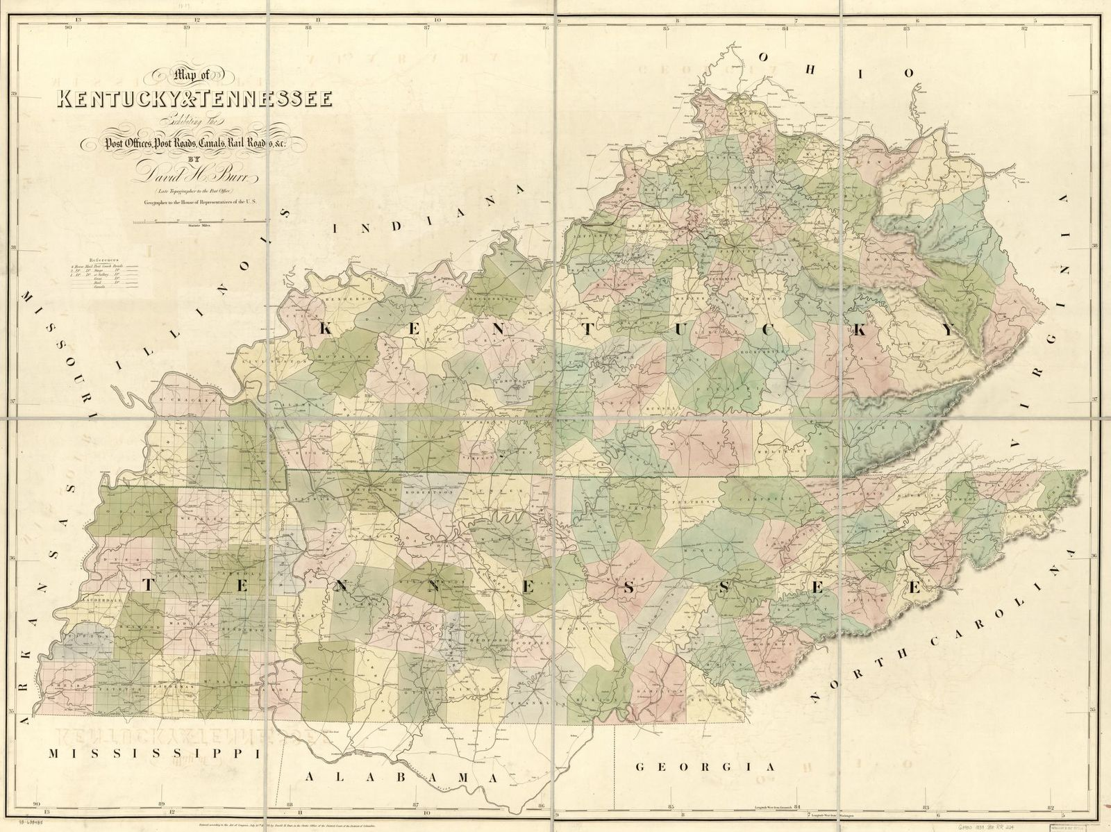 Map of Kentucky & Tennessee exhitibing the post offices, post roads, canals, rail roads, &c.; by David. H. Burr (Late topographer to the Post Office,) Geographer to the House of Representatives of the U.S.