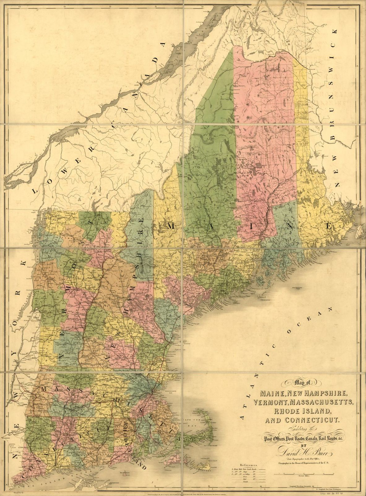 Map of Maine, New Hampshire, Vermont, Massachusetts, Rhode Island, and Connecticut exhibiting the post offices, post roads, canals, rail roads, &c.; by David H. Burr (late topographer to the Post Office,) Geographer to the House of Representatives of the U.S.