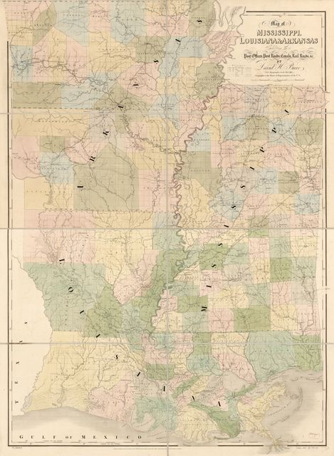 Map of Mississippi, Louisiana & Arkansas exhibiting the post offices, post roads, canals, rail roads, &c. /