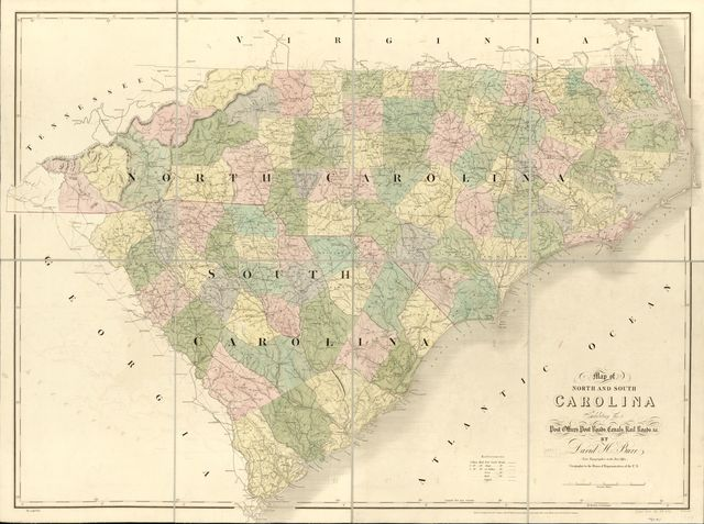 Map of North and South Carolina exhibiting the post offices post roads, canals, rail roads &c. By David H. Burr; (Late topographer to the Post Office.) Geographer to the House of Representatives of the U.S.