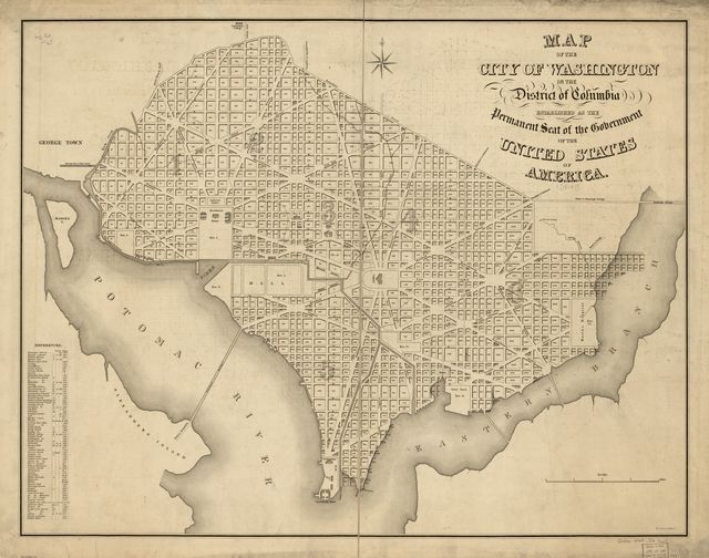 Map of the city of Washington in the District of Columbia : established as the permanent seat of the government of the United States of America /