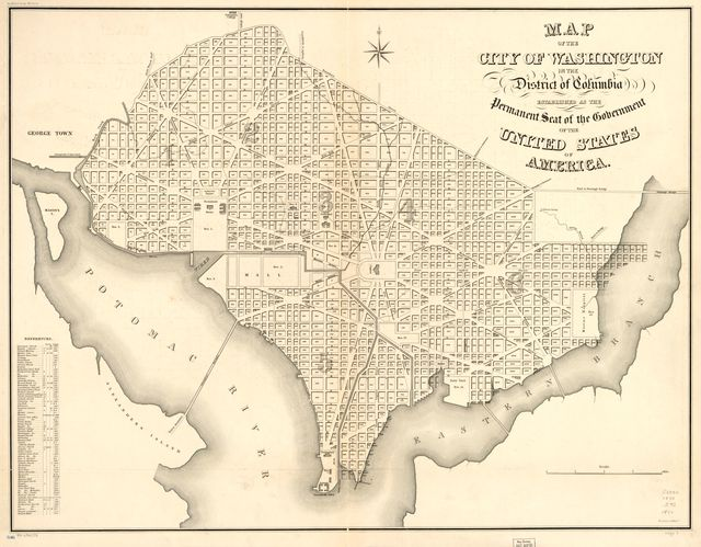 Map of the city of Washington in the District of Columbia : established as the permanent seat of the government of the United States of America.
