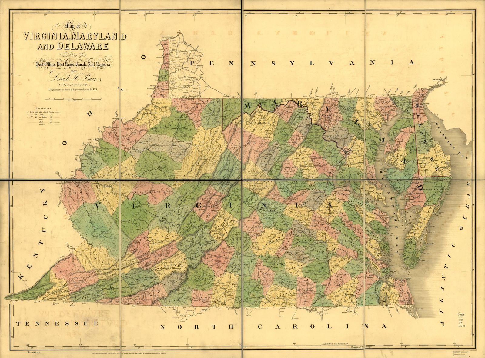 Map of Virginia, Maryland and Delaware exhibiting the post offices ...