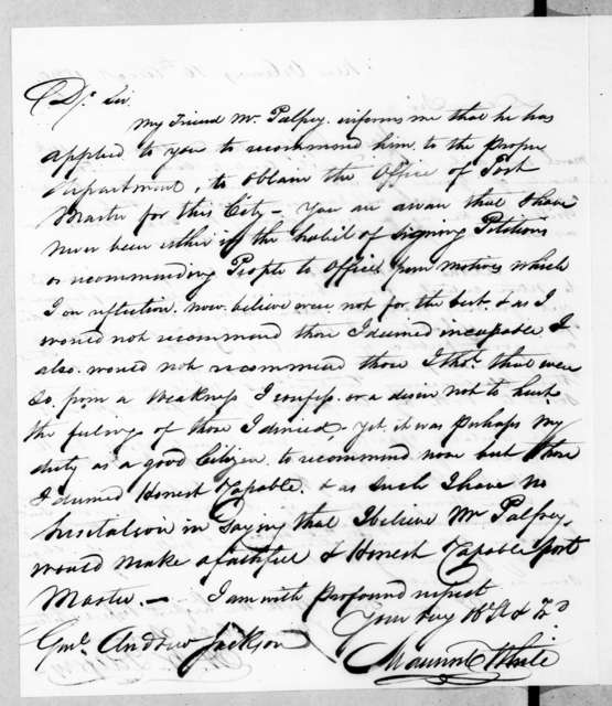 Maunsel White to Andrew Jackson, August 10, 1839