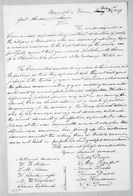 Nathaniel Anderson et al. to Andrew Jackson, December 31, 1839