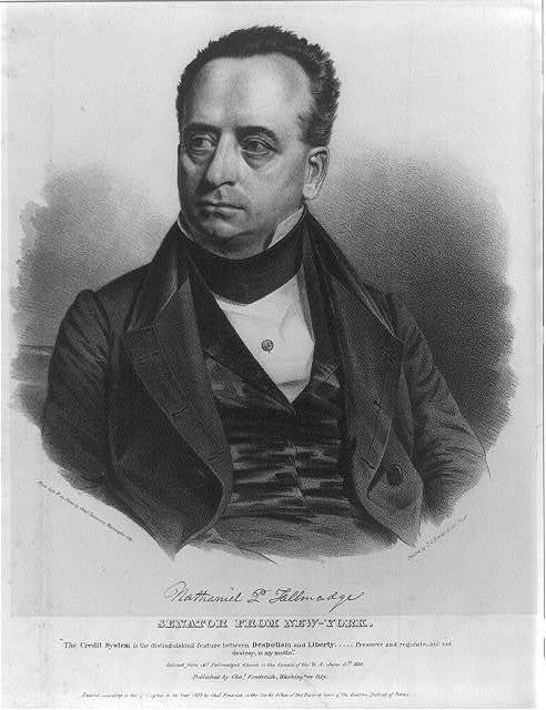 Nathaniel P. Tallmadge. Senator from New-York / from life & on stone by Chas. Fenderich, Washington City ; printed by P.S. Duval, Lithr., Philada.