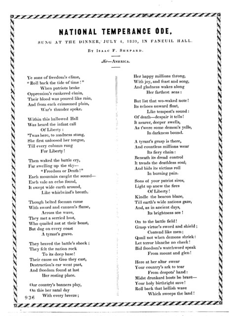 National temperance ode. Air- America