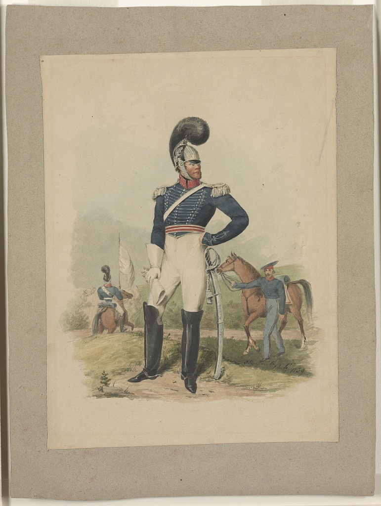 [Officer from the First Troop, Philadelphia, facing forward, head turned toward right standing before soldier holding horse and another on horseback] / J.R. Smith, Phila., Pa., 1839.