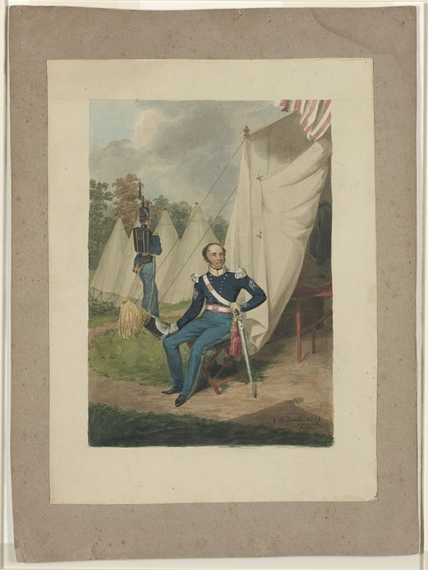 [Officer from the First Troop, Philadelphia, seated by a tent in which a writing desk is visible. A soldier marches with a rifle nearby] / J.R. Smith, 1839, Phila.