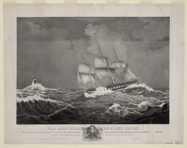 Old Iron Sides on a lee shore The U.S. Frigate Constitution Captn. Elliott, weathering Scilly, on her return from France, with the Hon. Edward Livingston on board on the night of the [Eleventh] of May 1835 / / drawn on stone by A. Hoffy, from a painting by J. Evans ; P.S. Duval, Lith. Philad.