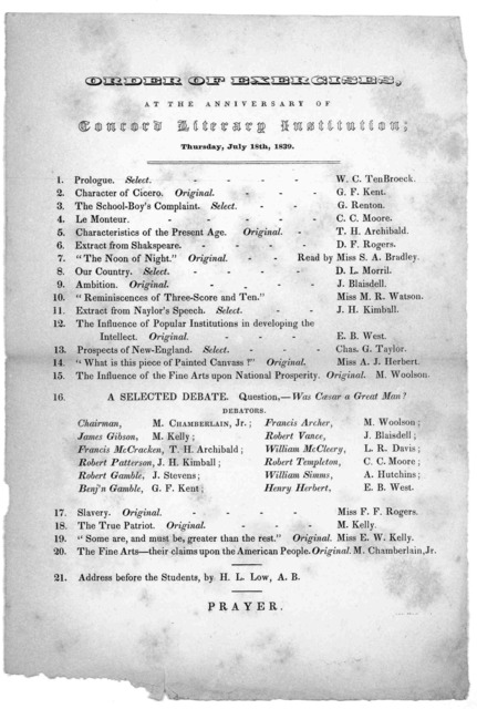 Order of exercises at the anniversary of Concord literary institution; Thursday, July 18th 1839.