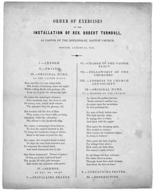 Order of exercises at the installation of Rev. Robert Turnbull, as pastor of the Boylston St. Baptist church, Boston, August 25, 1839.