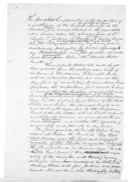 Original manuscript, controversy with Charles D. Jackson regarding the invention of the telegraph